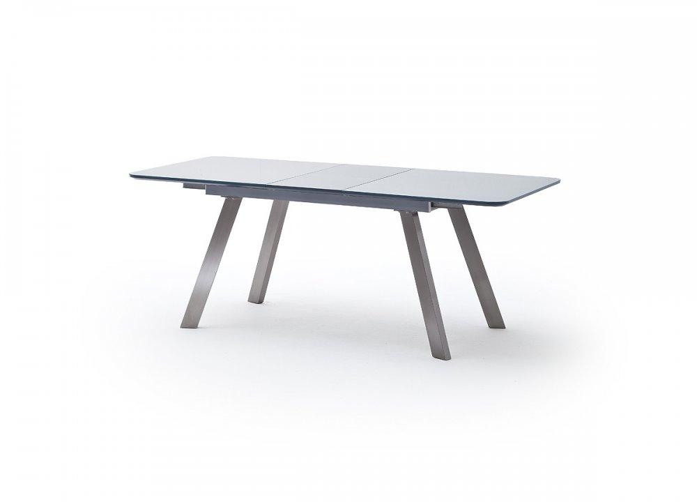Table repas extensible ODOS 160/200 x 90 cm verre gris pied acier brossé