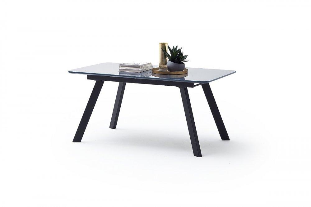 Table repas extensible ODOS 160/200 x 90 cm verre gris pied laque noir mat