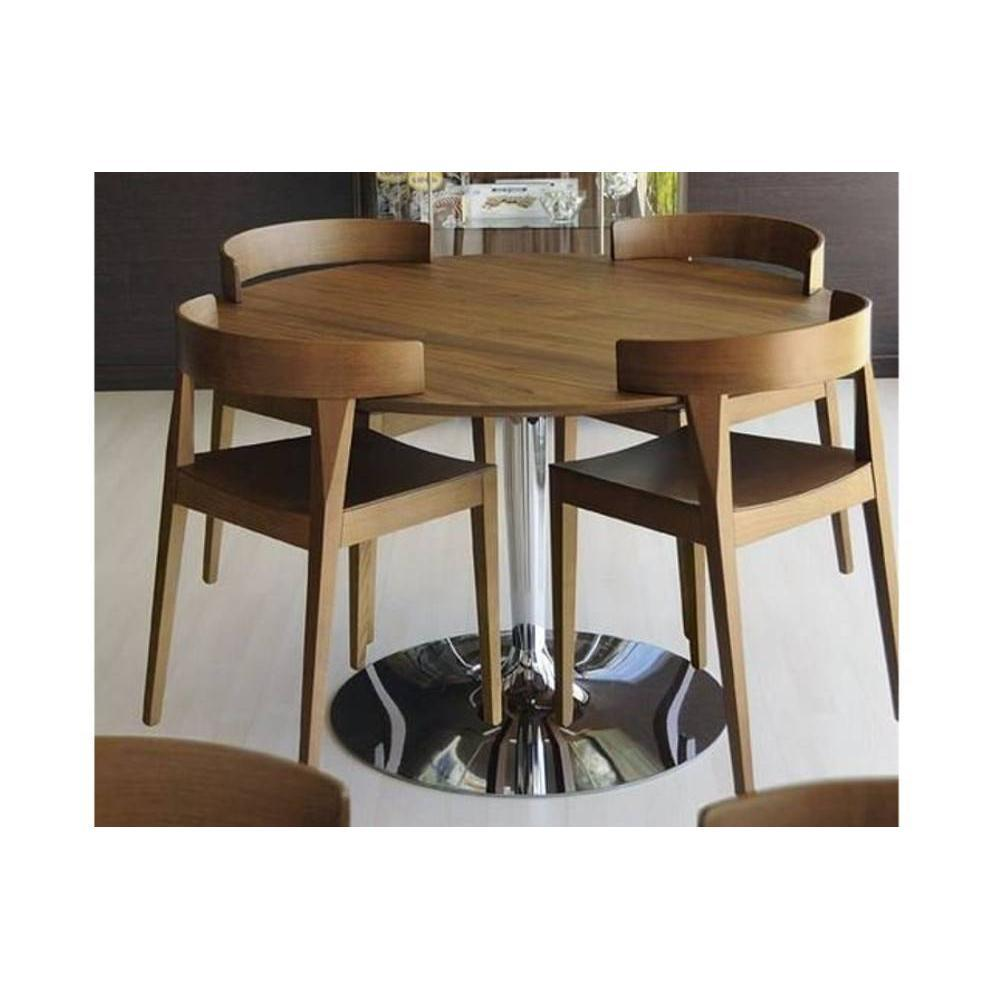 tables design au meilleur prix table repas ronde planet 120x120 noyer pi tement acier chrom. Black Bedroom Furniture Sets. Home Design Ideas