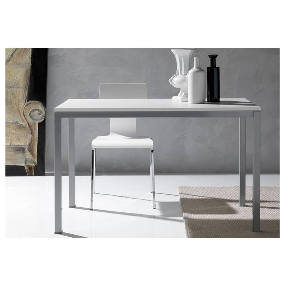 tables tables et chaises table repas kerwiin design blanc 140 cm inside75. Black Bedroom Furniture Sets. Home Design Ideas