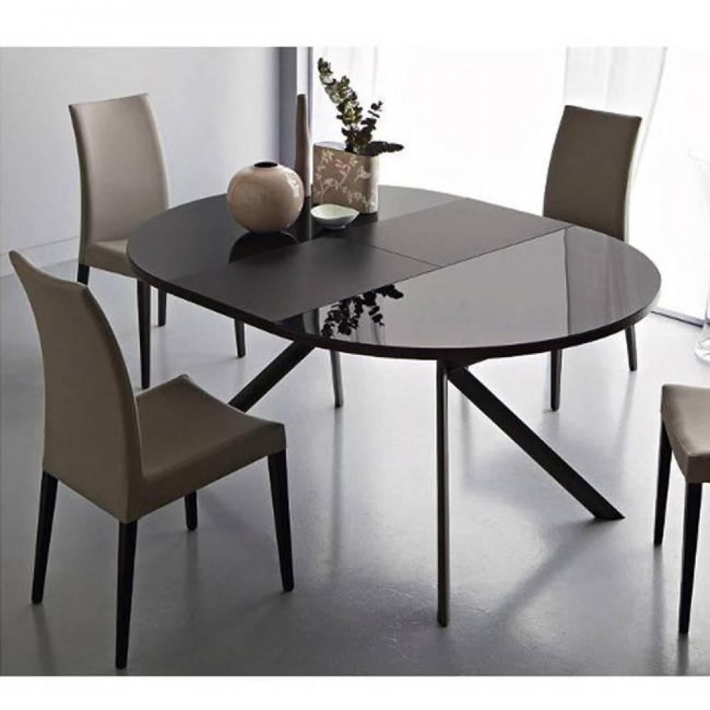 tables design au meilleur prix table de repas extensible ronde tulipe quattro 120cm en verre. Black Bedroom Furniture Sets. Home Design Ideas