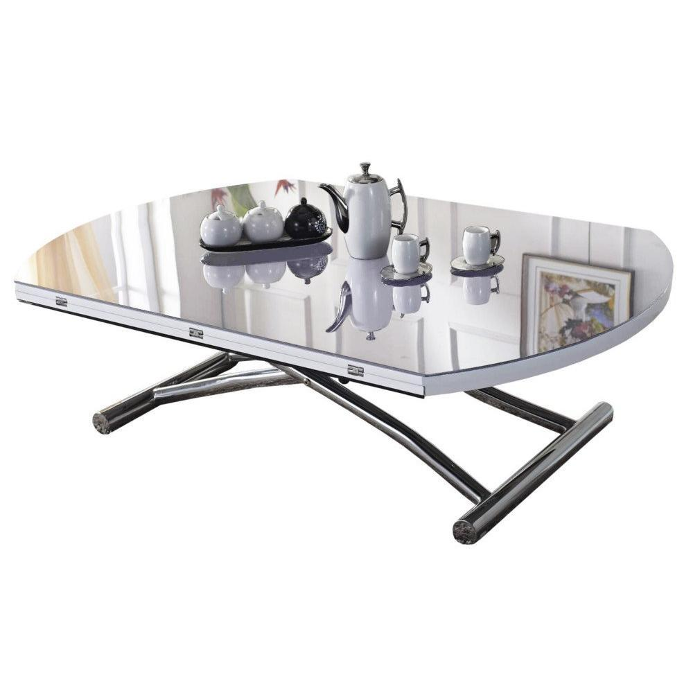 table basse ronde relevable et extensible planet blanche. Black Bedroom Furniture Sets. Home Design Ideas