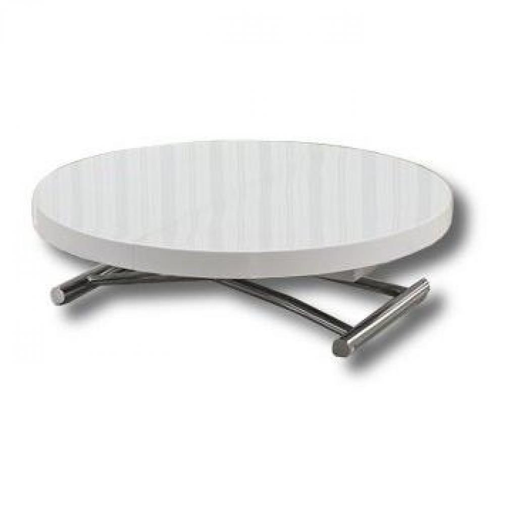 Table basse ronde relevable et extensible SATURNA XL blanche diamètre 120 cm