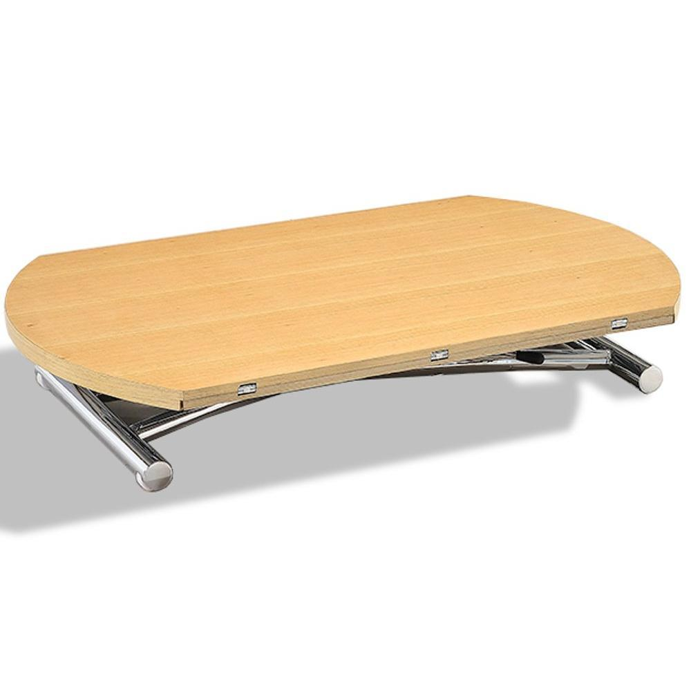 Table basse ronde relevable et extensible PLANET chêne clair