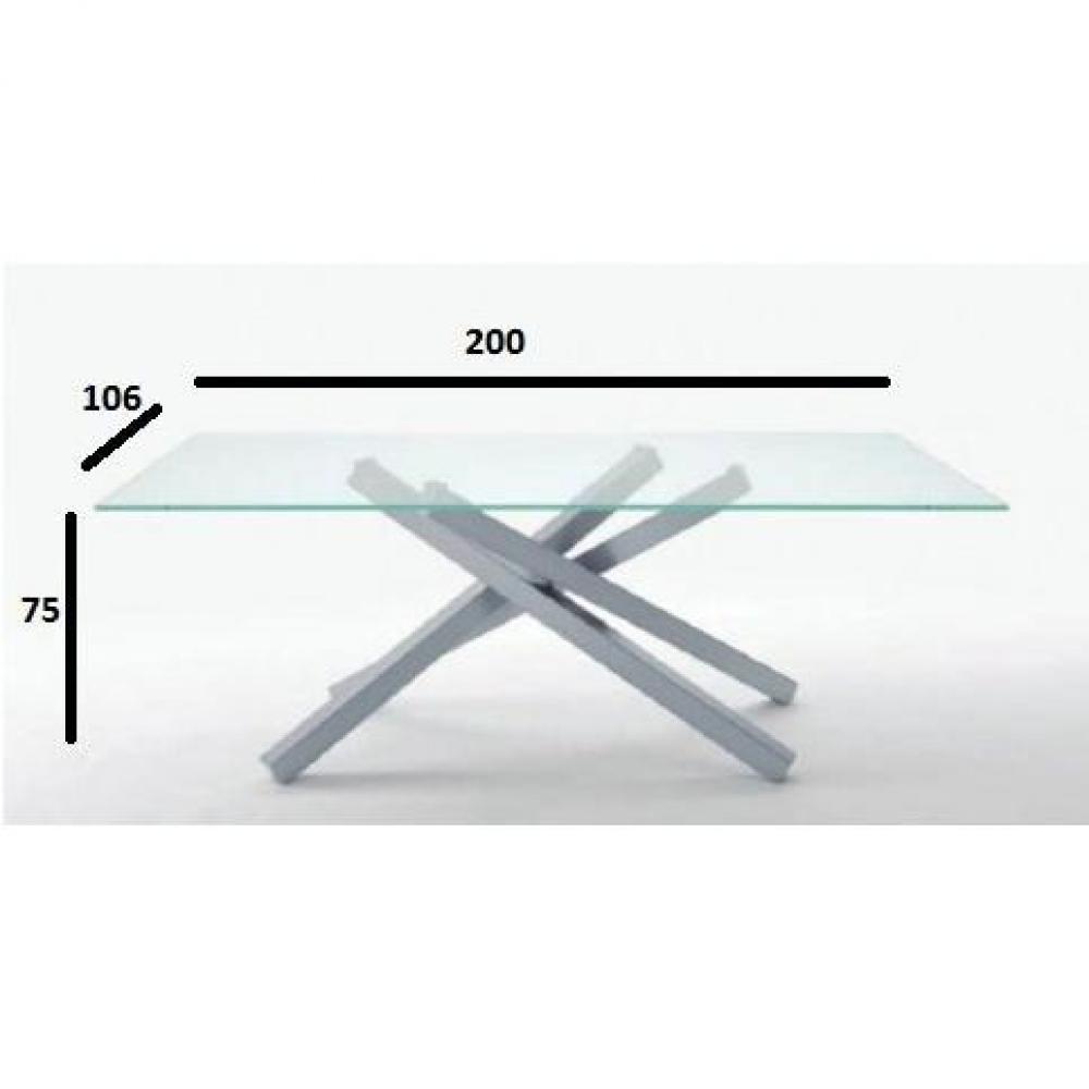 Table repas INFINITY en verre transparent 200 cm