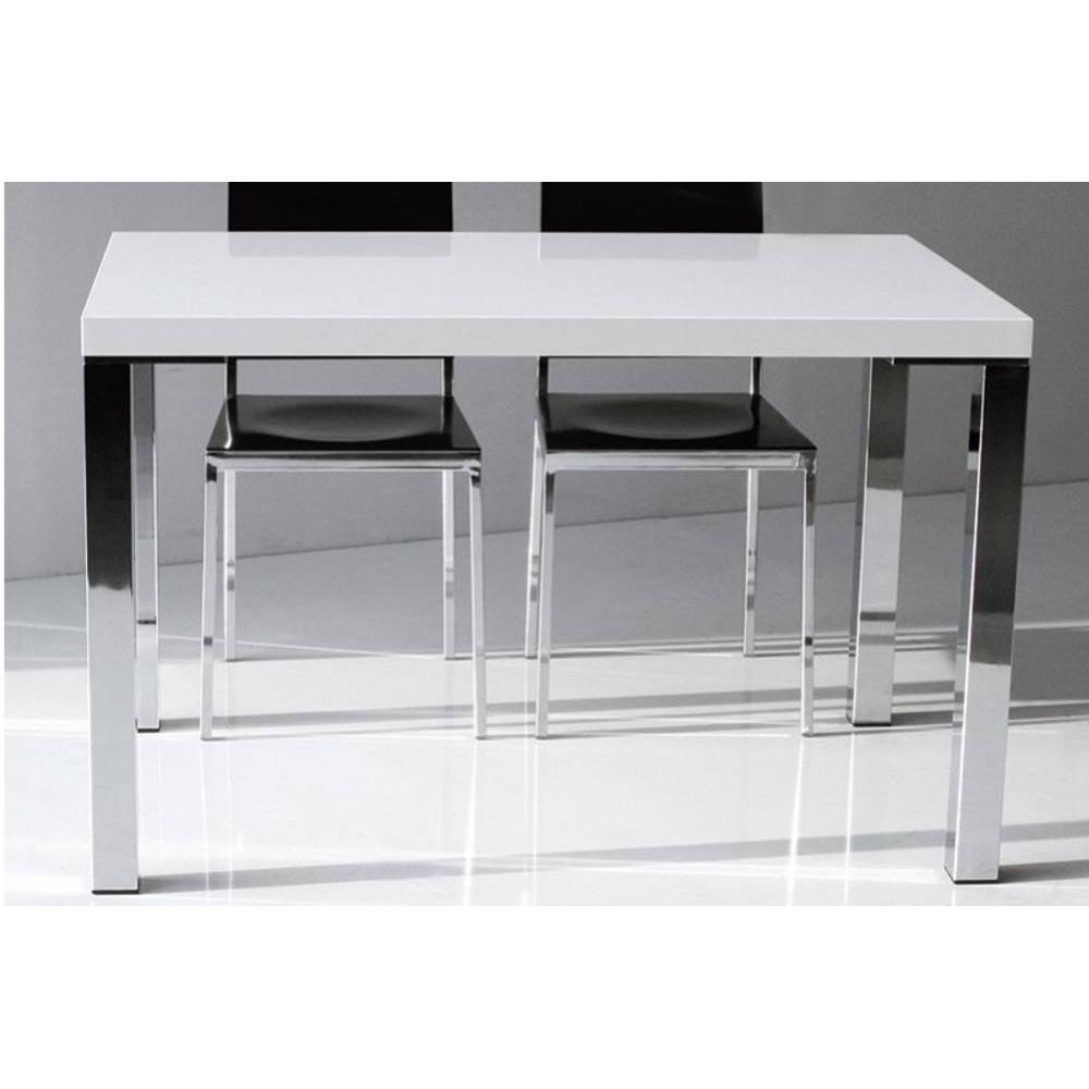 table de repas design au meilleur prix table repas neon design blanc brillant 130 cm inside75. Black Bedroom Furniture Sets. Home Design Ideas