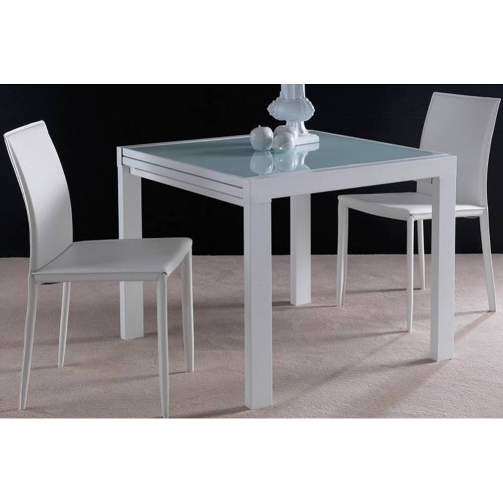 Tables design au meilleur prix table repas extensible for Table verre blanc extensible