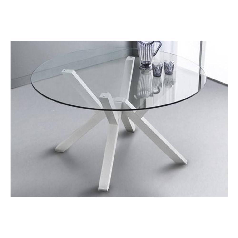 Table repas TEOREMA en verre design blanc 140 cm