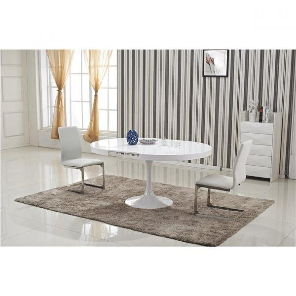Tables design au meilleur prix table ronde extensible for Table blanche extensible