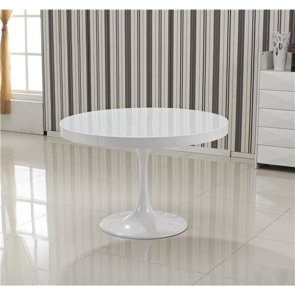 Tables design au meilleur prix table ronde extensible for Table ronde laquee blanche
