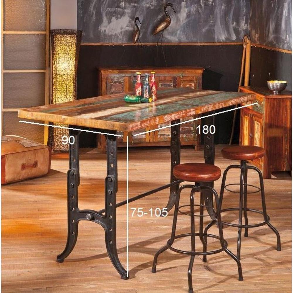 table de repas design au meilleur prix table unique amarelo en bois de manguier recycle et. Black Bedroom Furniture Sets. Home Design Ideas