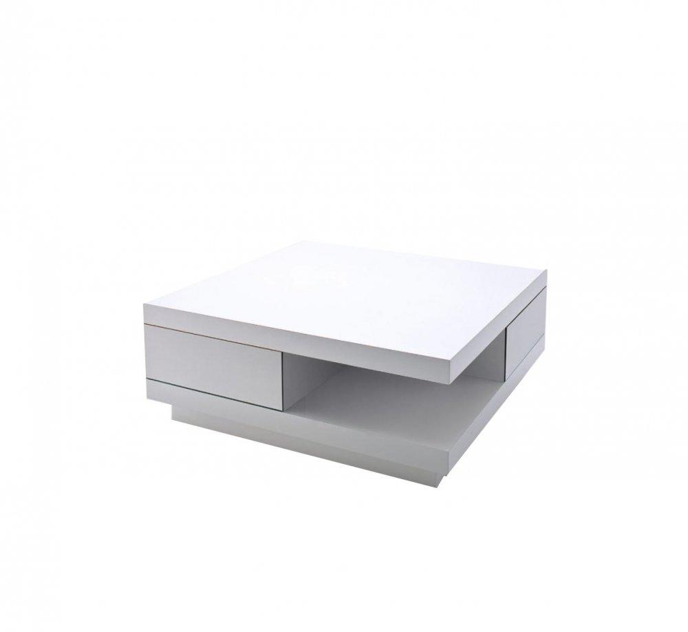 Table Basse Albi 2 Tiroirs Laque Blanc