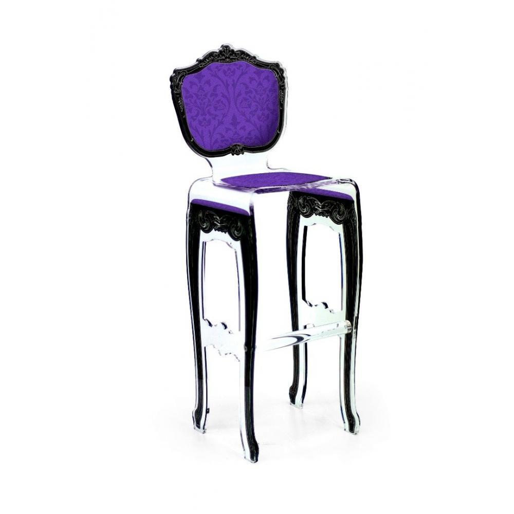 Tabouret De Bar BAROK Violet En Plexi Par ACRILA