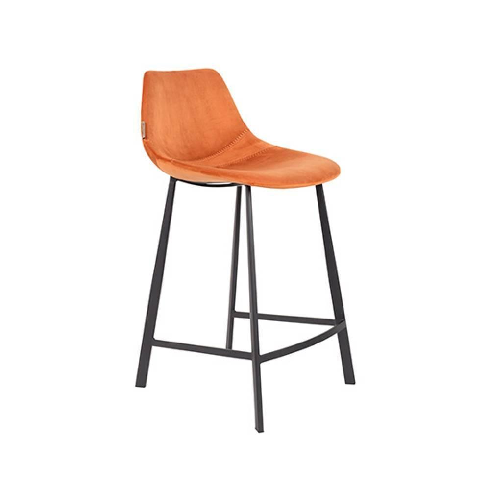 Dutchbone Tabouret De Bar FRANKY COUNTERSTOOL En Velours Orange