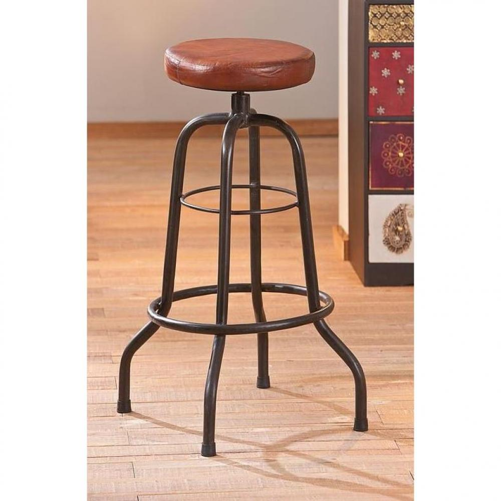tabouret de bar design tendance retro au meilleur prix tabouret de bar longo en cuir et. Black Bedroom Furniture Sets. Home Design Ideas