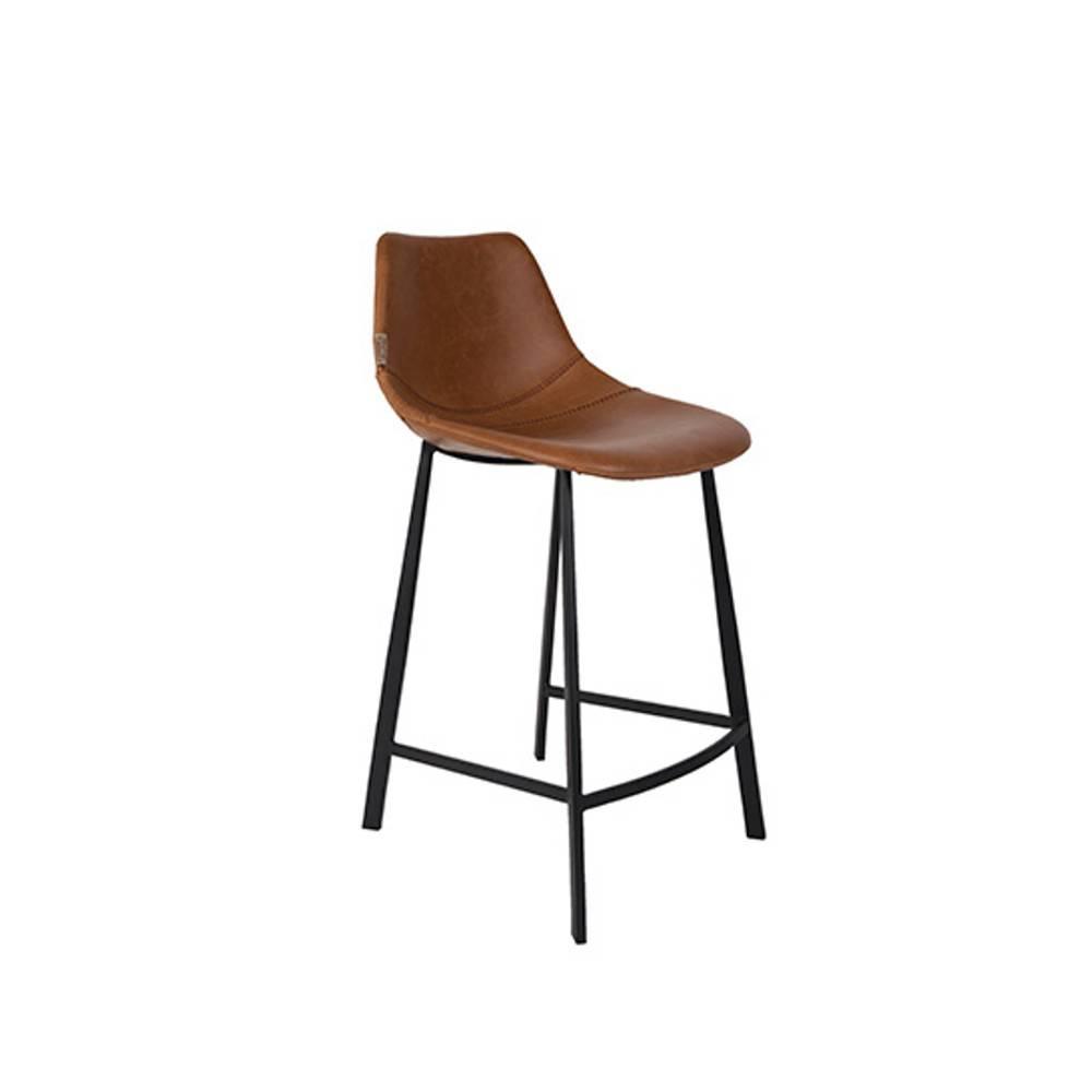 Dutchbone tabouret de bar  FRANKY COUNTERSTOOL polyuréthane façon cuir marron