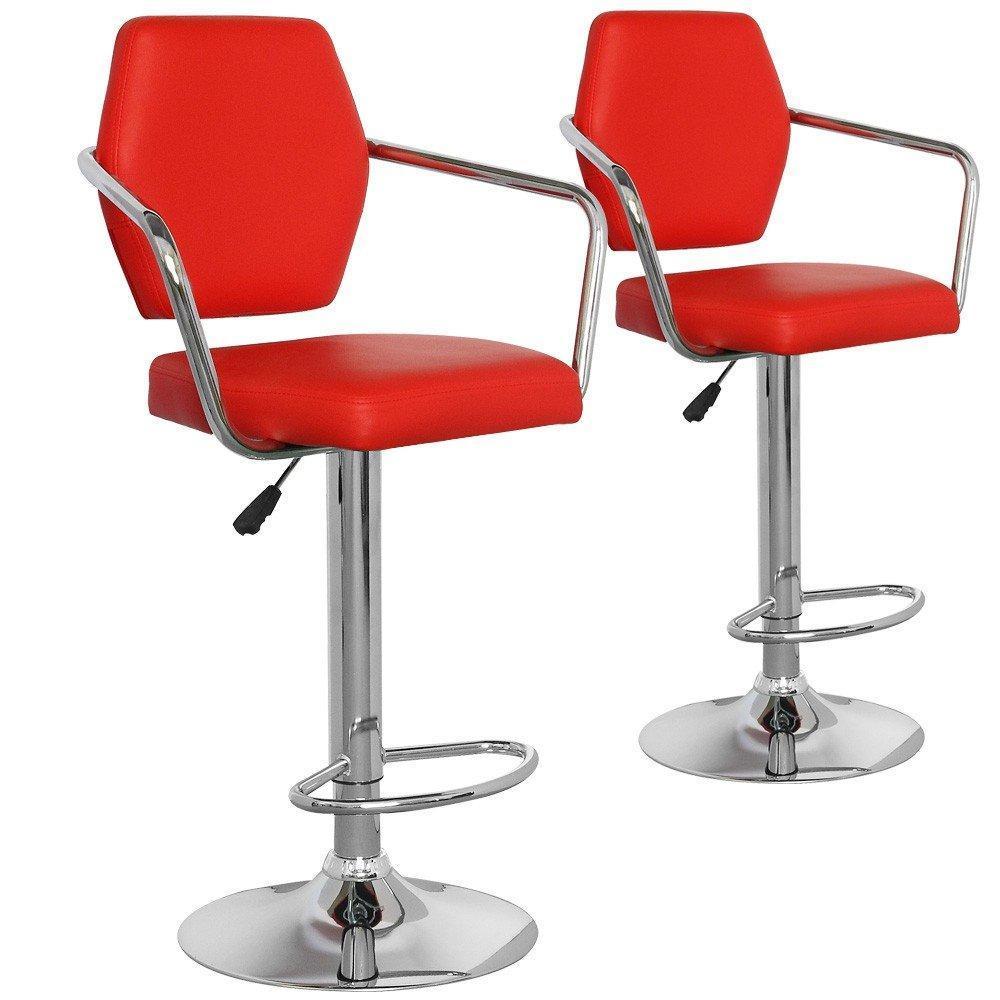 Tabouret de bar design tendance retro au meilleur prix lot de 2 tabou - Tabouret de bar cuir rouge ...