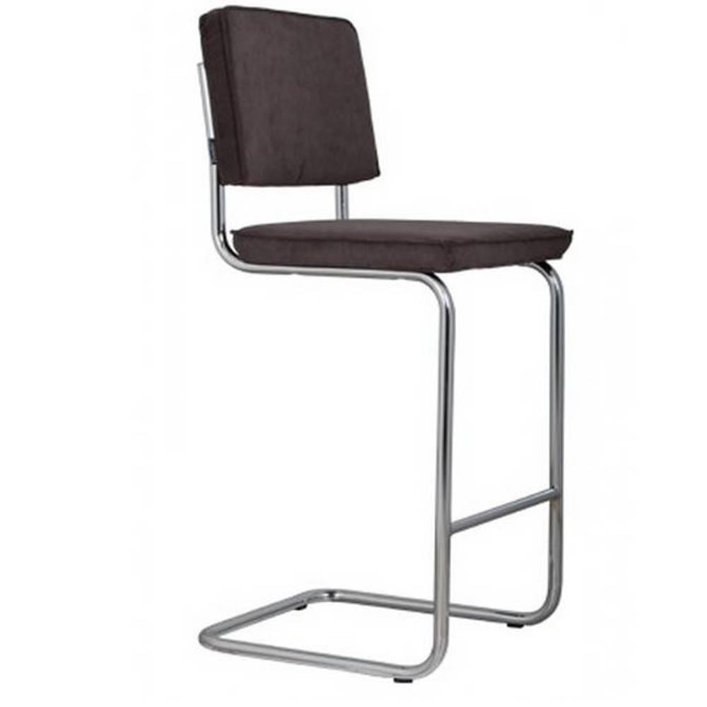 ZUIVER Chaise de bar  RIDGE RIB en velours coloris gris foncé.