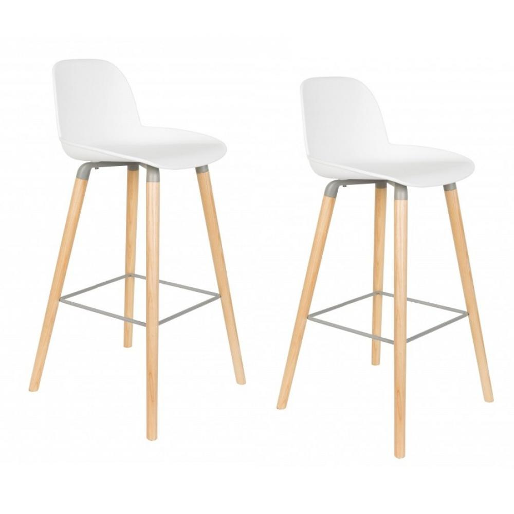 Lot De 2 Chaises Bar Design Scandinave ALBERT KUIP Blanche
