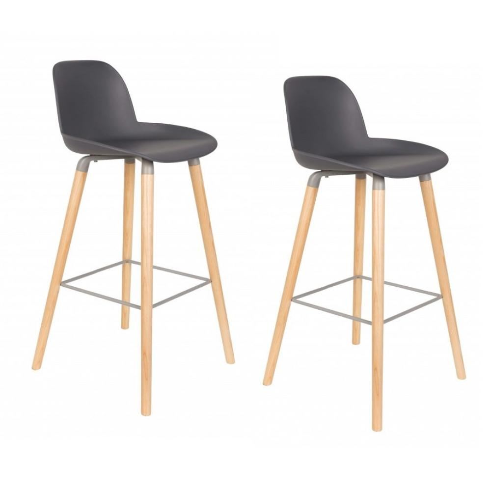 Lot De 2 Chaises Bar Design Scandinave ALBERT KUIP Grise