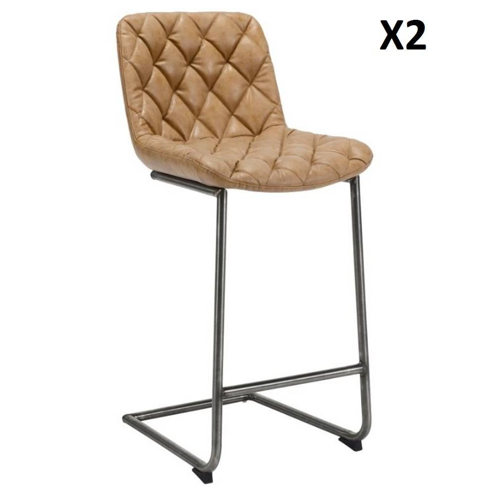 Lot de 2 chaises de bar matelassé TRONC polyuréthane taupe clair