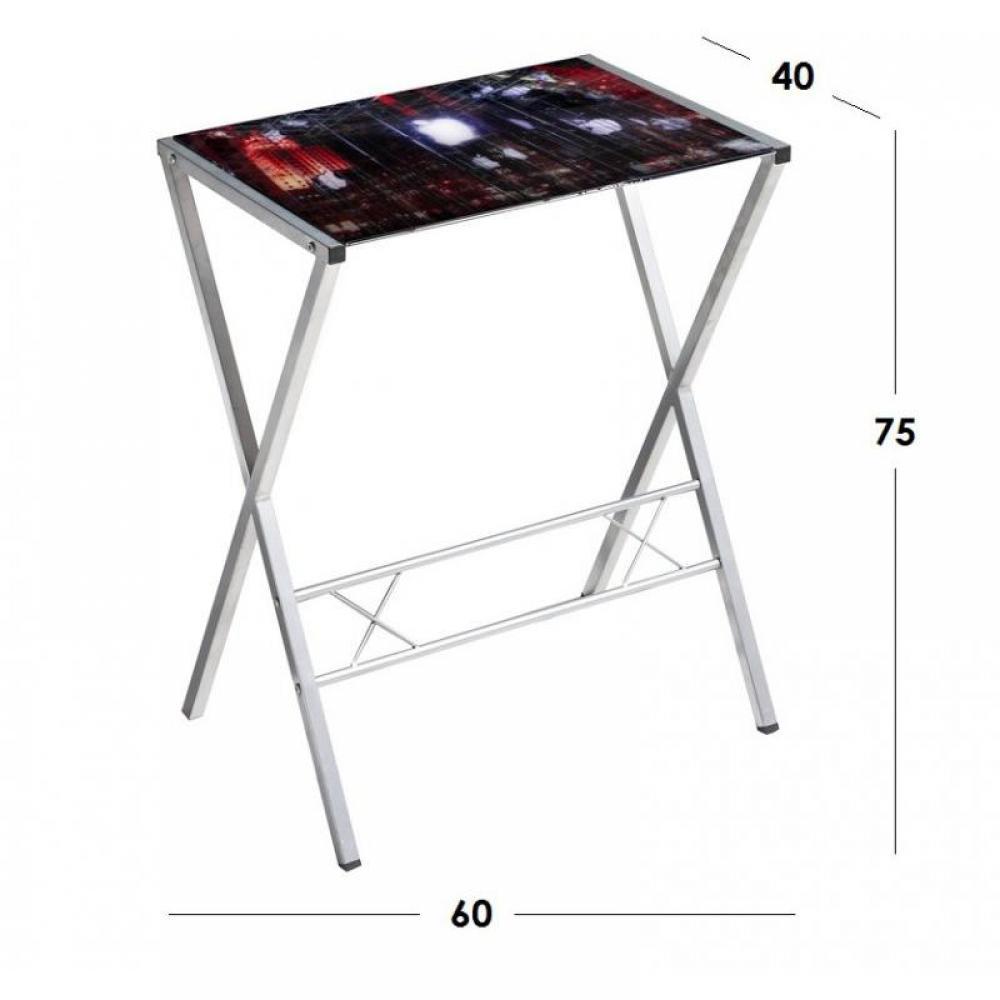 bureaux meubles et rangements petit bureau town avec plateau en verre imprim inside75. Black Bedroom Furniture Sets. Home Design Ideas