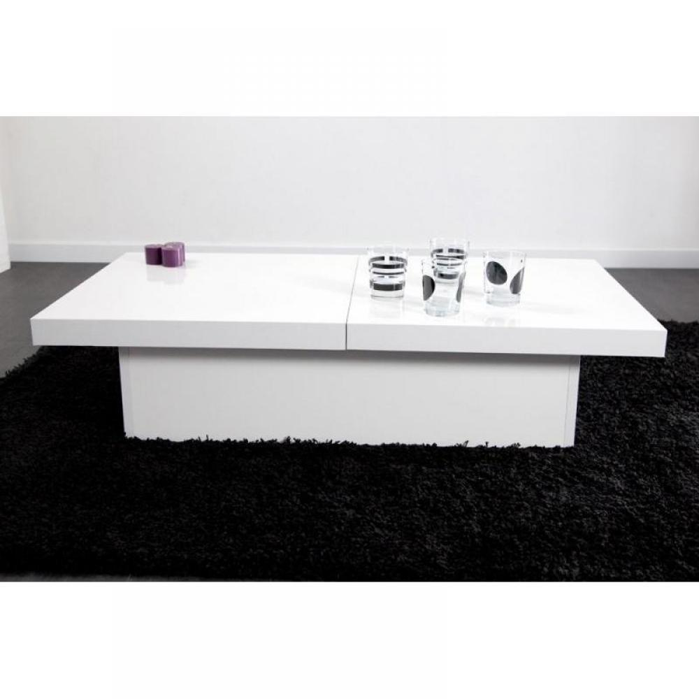 Table basse carr e ronde ou rectangulaire au meilleur for Table carree extensible blanc laque