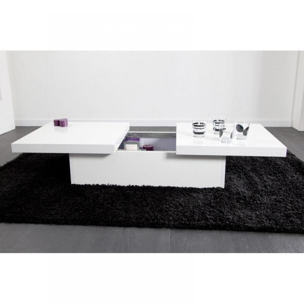 Table basse carr e ronde ou rectangulaire au meilleur - Table basse blanc laque avec rangement ...