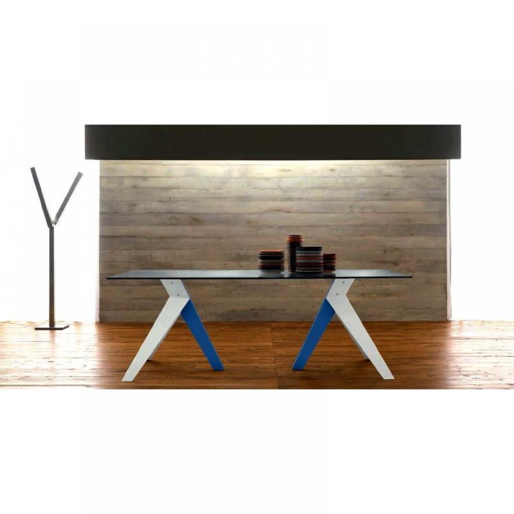 TRIO Table repas en verre, piétement en bois blanc et bleu