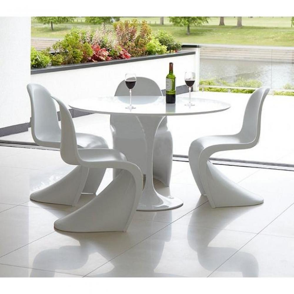 table ronde de repas design tulipe laque blanc 90 cm - Table Ronde Pied Tulipe