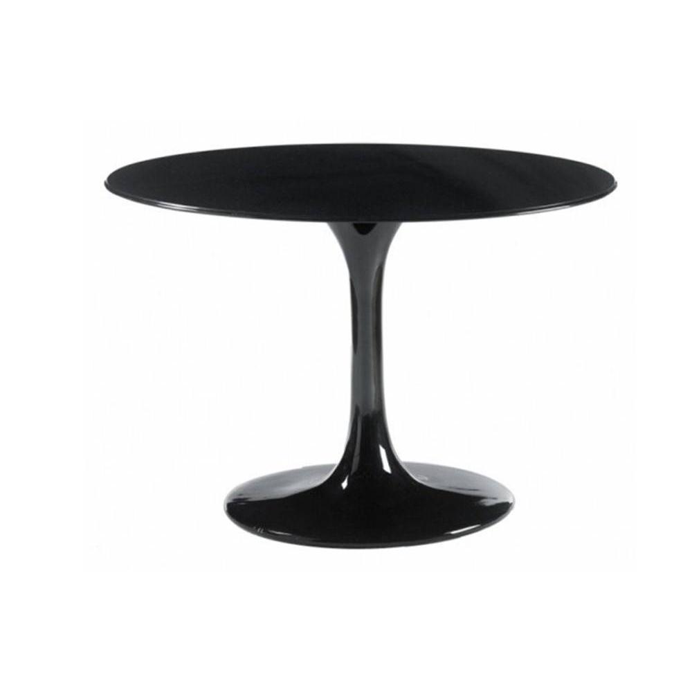 Table ronde de repas design tulipe laqu e noir 90 cm ebay - Table ronde diametre 90 ...