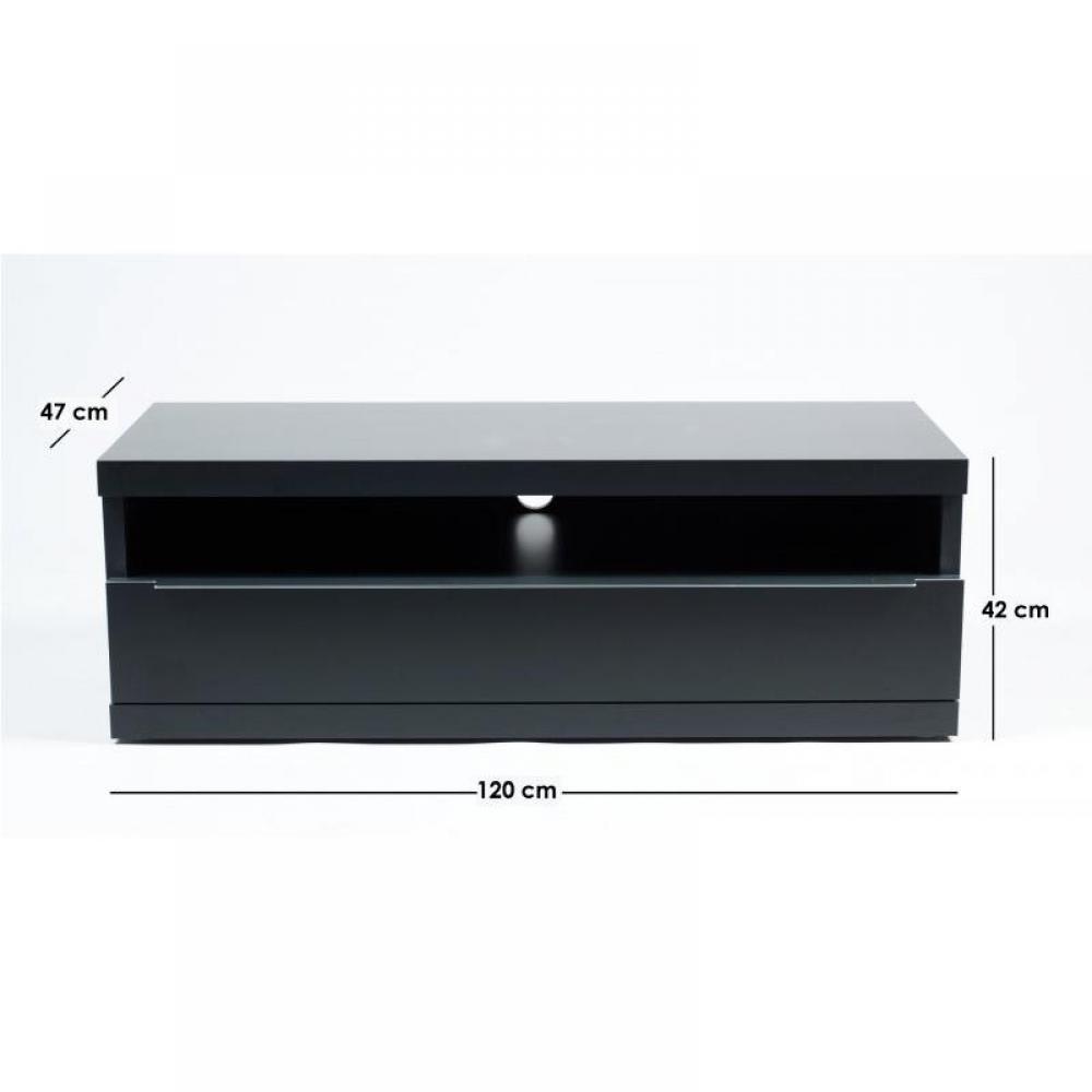 Meubles tv meubles et rangements meuble tv design noir avec niche de rangements tiroir inside75 - Meuble tv noir mat ...