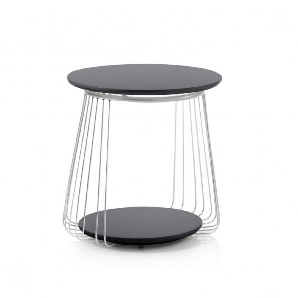 Table basse VELLA 50 cm design laque noir mat