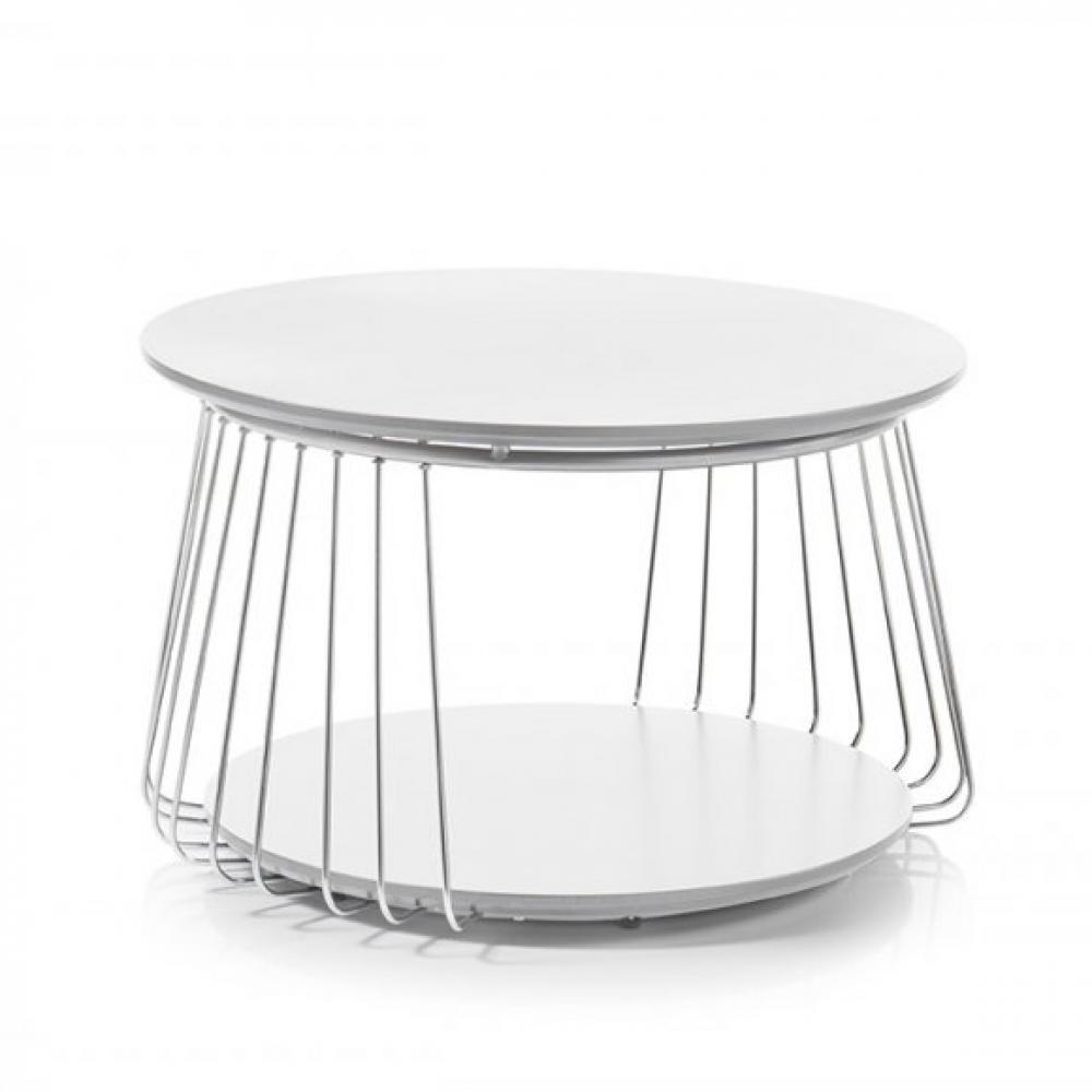 Table basse VELLA 70 cm design laque blanc mat