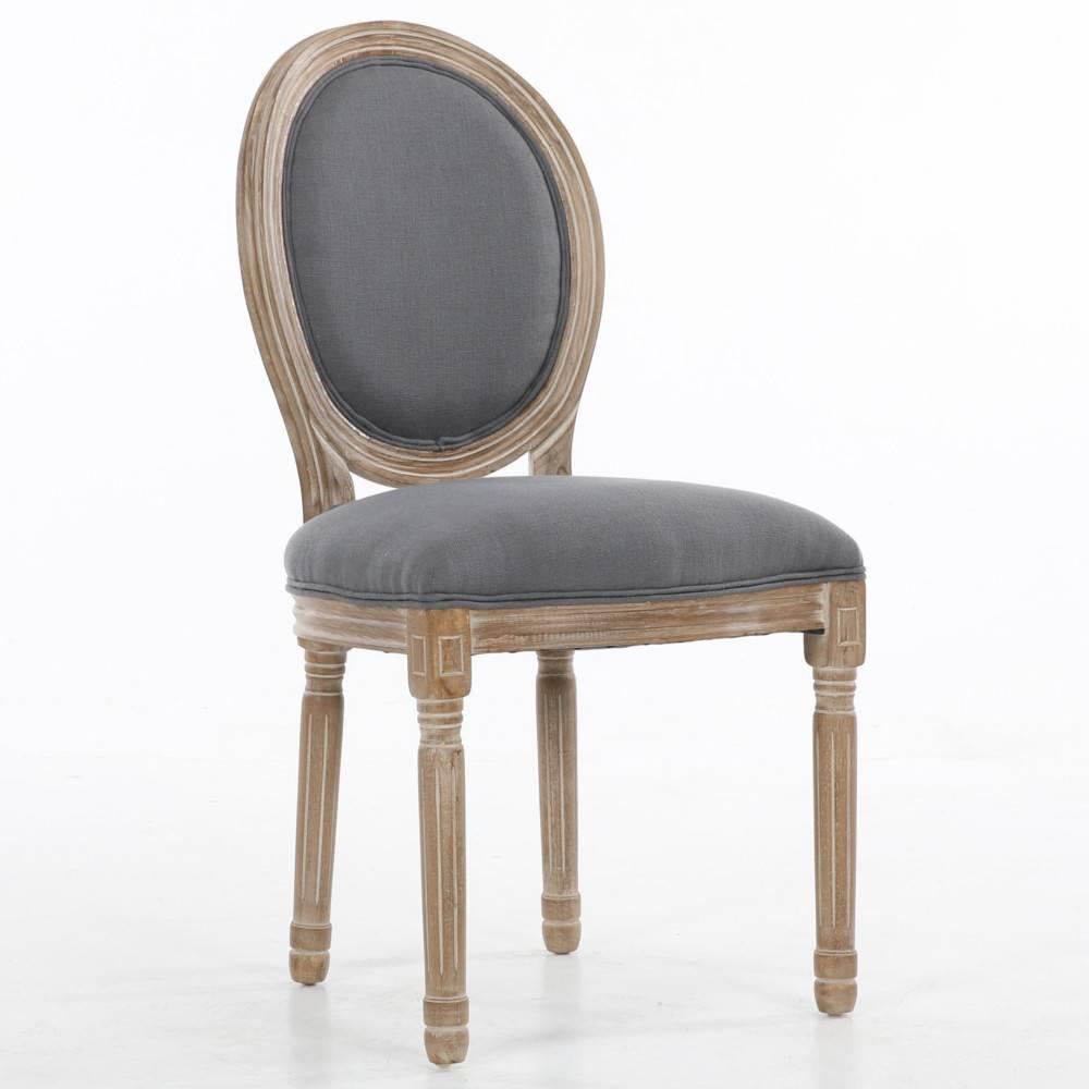 Chaise médaillon VERSAILLES style louis XVI lin gris. Bon nombre de meubles ont marqués les esprits et traversés les époqu