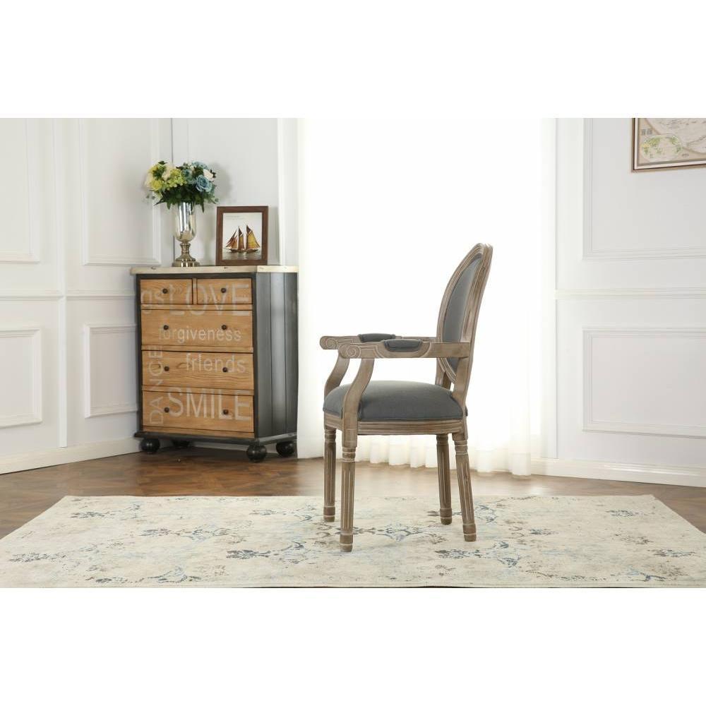 Fauteuil médaillon VERSAILLES style louis XVI lin gris et chêne gris