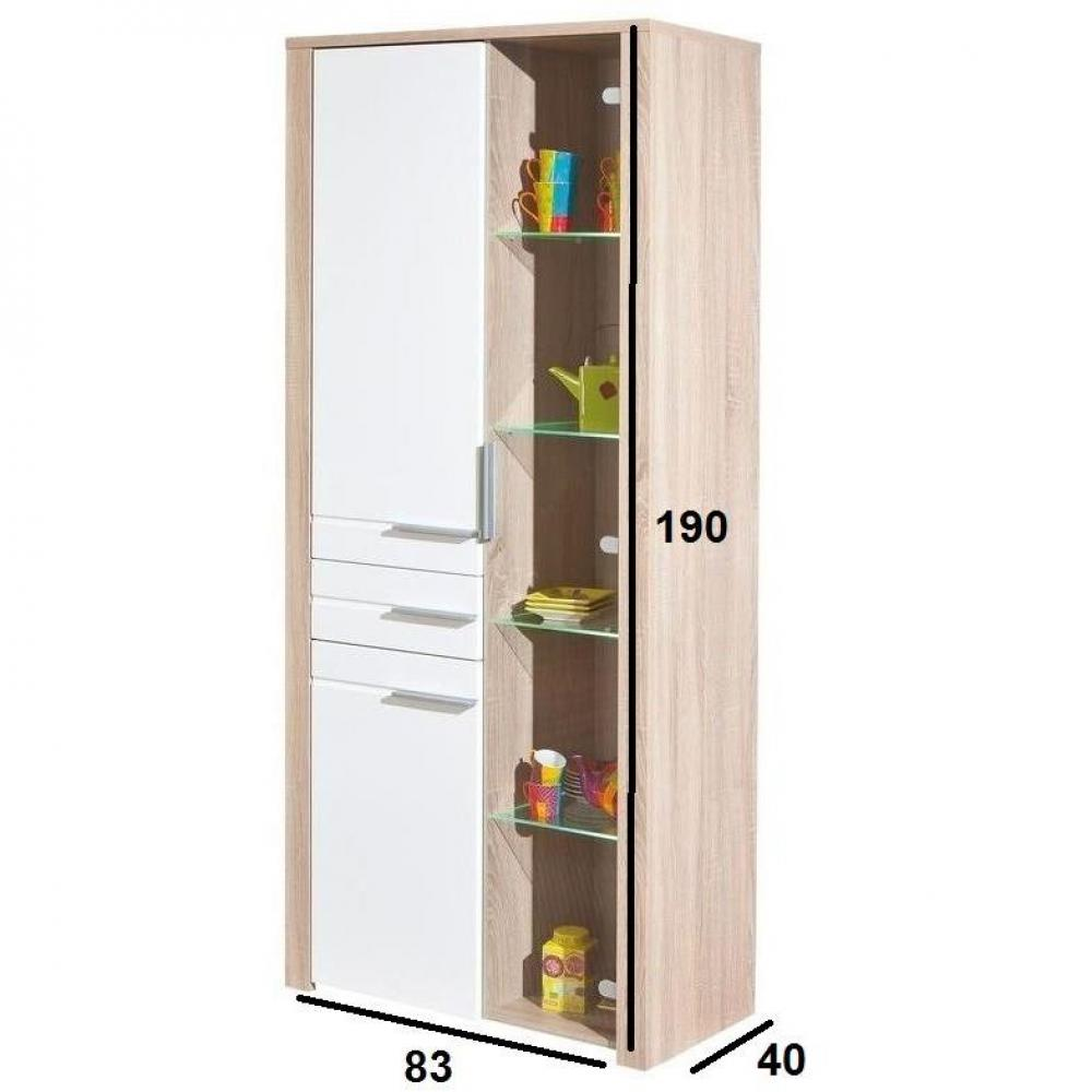 Vitrine ABSOLUTO chêne blanc 3 portes et 1 tiroir