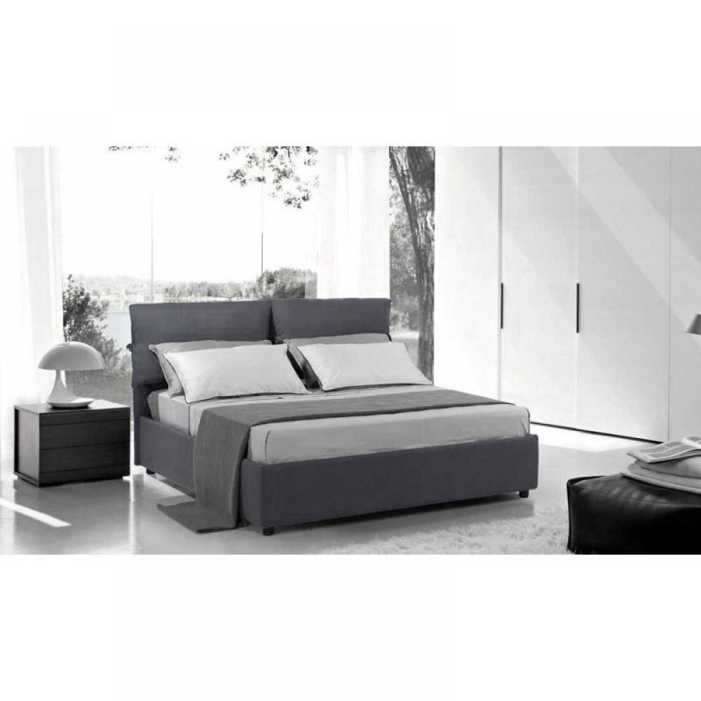 lits coffres chambre literie lit coffre design vittoria couchage 140 190cm microfibre gris. Black Bedroom Furniture Sets. Home Design Ideas