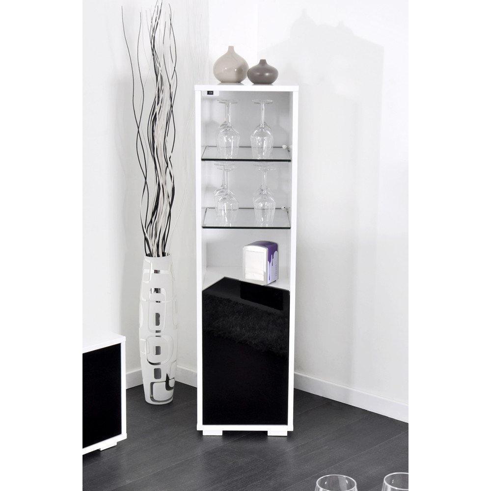 dccfecaaafc1b VOYAGER Bar, étagère lumineuse avec led, plateaux, placard, couleur blanc  et noir