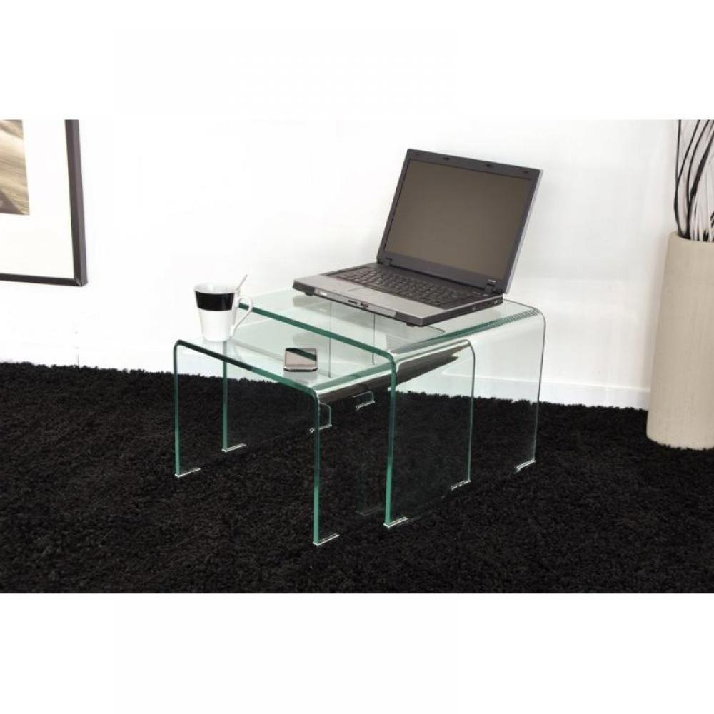 Table basse carr e ronde ou rectangulaire au meilleur prix wave gigogne transparente 2 tables - Table basse gigogne verre ...