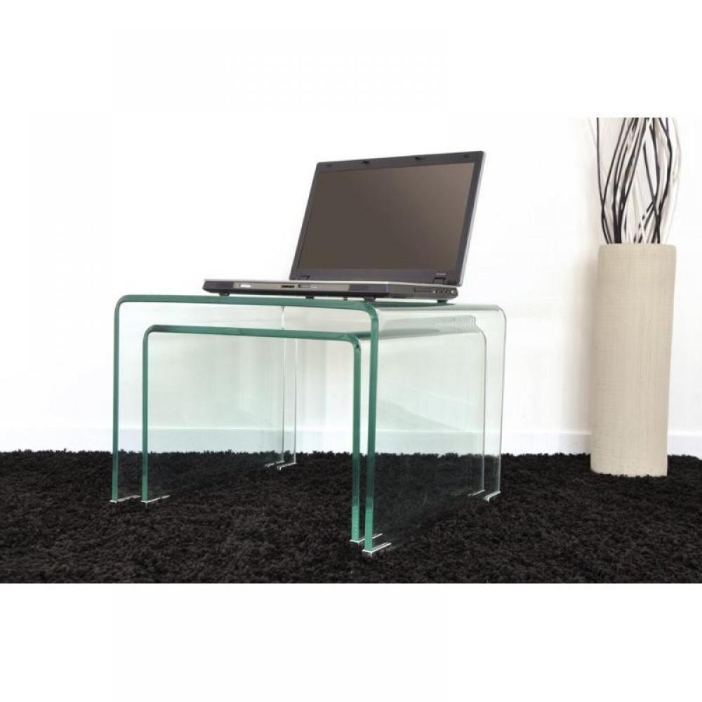 table basse carr e ronde ou rectangulaire au meilleur prix wave gigogne transparente 2 tables. Black Bedroom Furniture Sets. Home Design Ideas