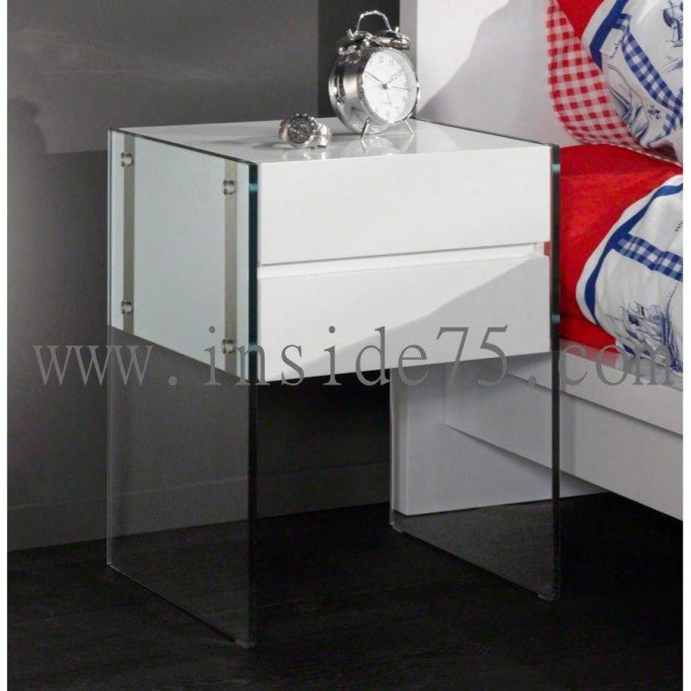 chevets meubles et rangements table de chevet bedtable laqu e blanc et pi tement en verre. Black Bedroom Furniture Sets. Home Design Ideas