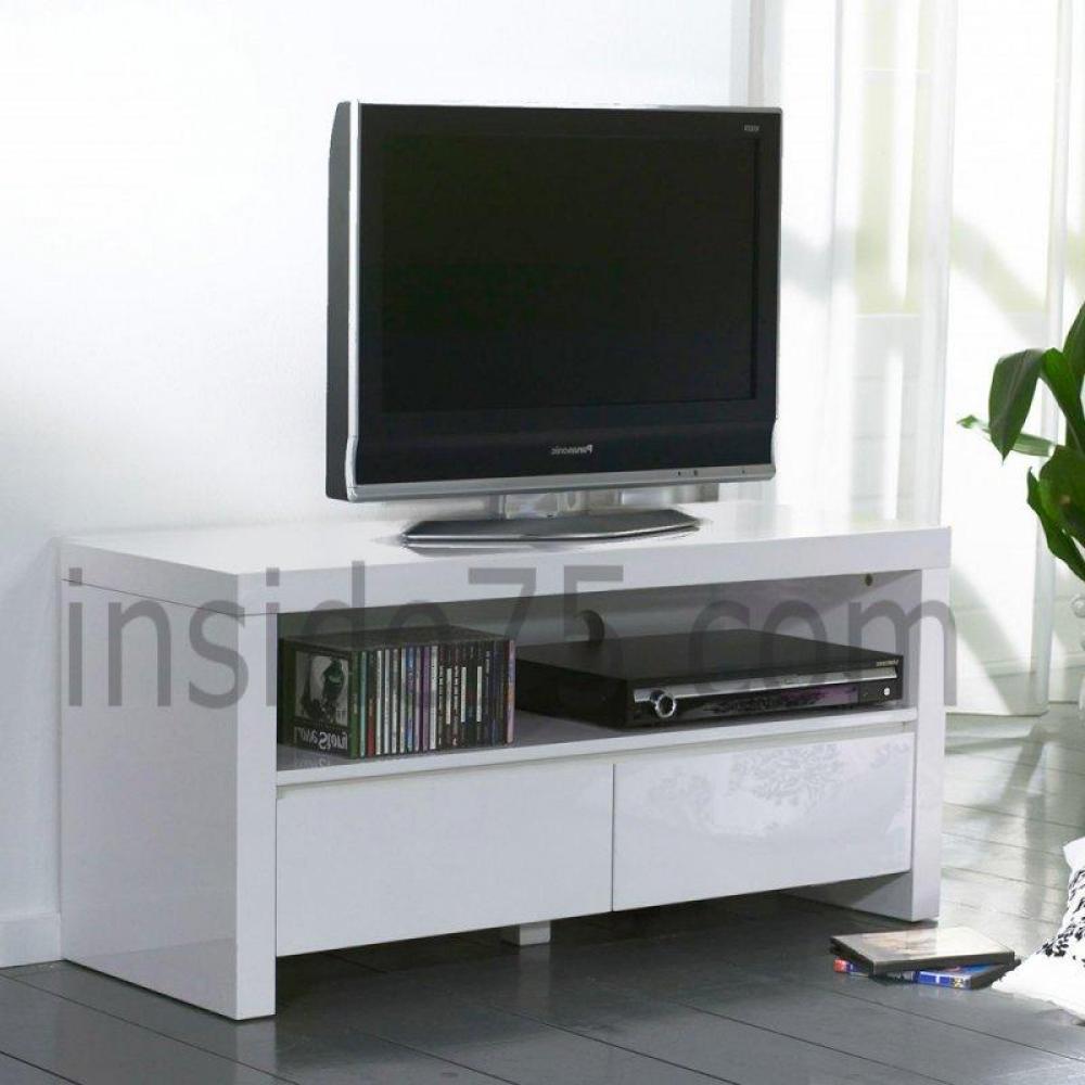 meubles tv meubles et rangements white meuble tv avec 2 tiroirs laqu blanc brillant inside75. Black Bedroom Furniture Sets. Home Design Ideas