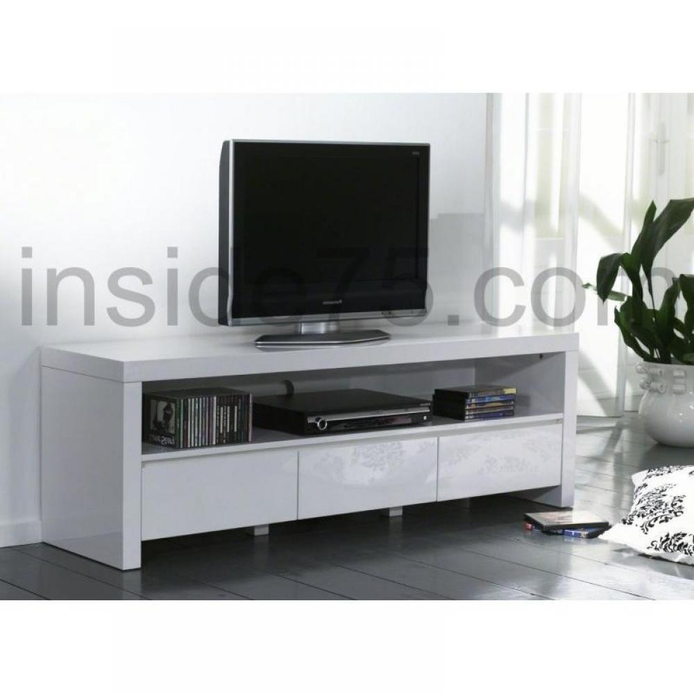 Meubles tv meubles et rangements white meuble tv avec 3 for Meuble tiroir laque blanc