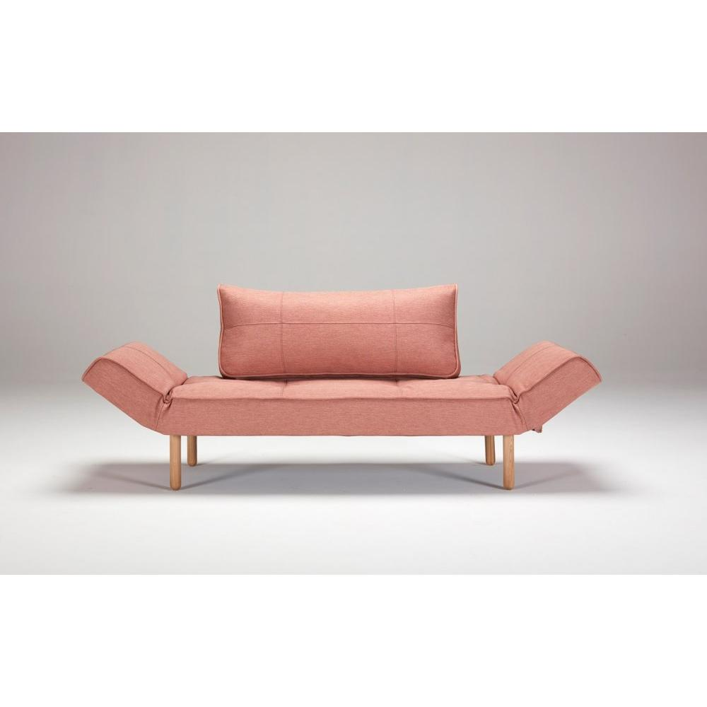 INNOVATION LIVING  Canape design ZEAL BOW convertible lit 200*70 cm tissu rouge Soft Coral