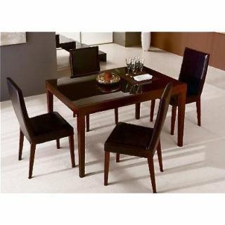FLY bois wengue, plateau verre marron table repas extensible 130 à 230 cm