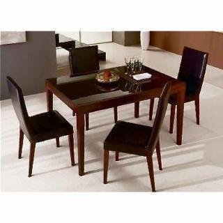 FLY bois wengue, plateau verre marron table repas extensible 90 à 150 cm