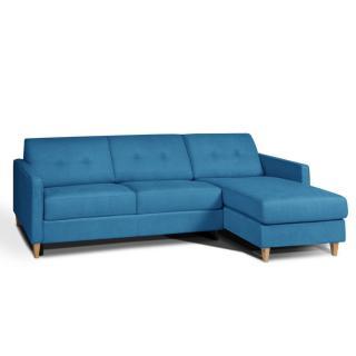 Canapé d'angle NORWAY matelas 14cm système rapido sommier lattes RENATONISI tissu tweed bleu azur