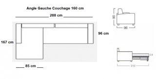 Canapé d'angle convertible LOTTO MAXI méridienne gauche Ouverture assistée Couchage 160*200 cm.