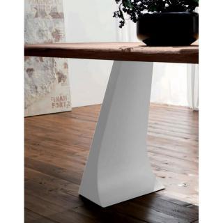 ARCADE Table repas en chêne naturel, piétement en métal blanc